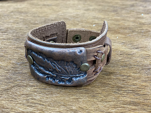 Molten Feather Metal Cuff with Adjustable Snaps