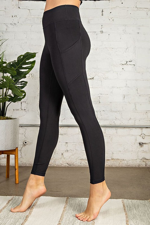 Soft Black High Waisted Leggings with side pockets
