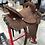 Thumbnail: JHA Saddle - Chocolate Hard Seat Round Skirt Buckstitch