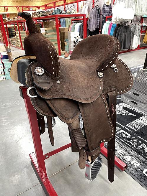 JHA Saddle - Chocolate Hard Seat Round Skirt Buckstitch