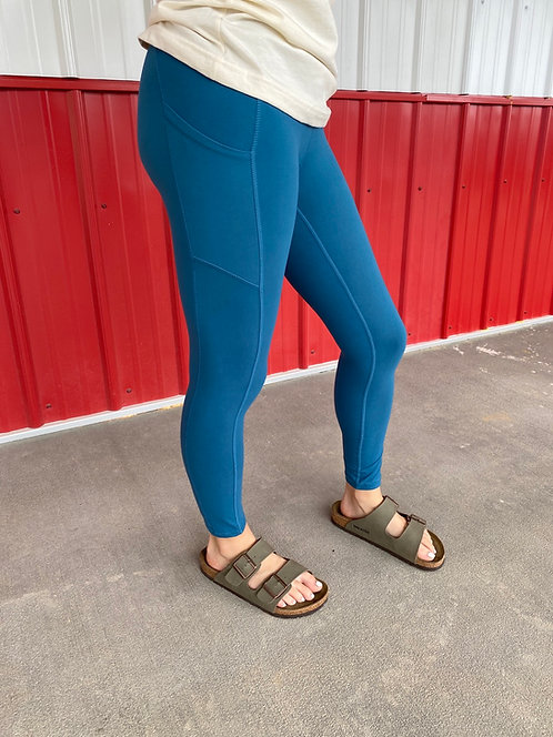 Soft Ocean Blue High Waisted Leggings with side pockets
