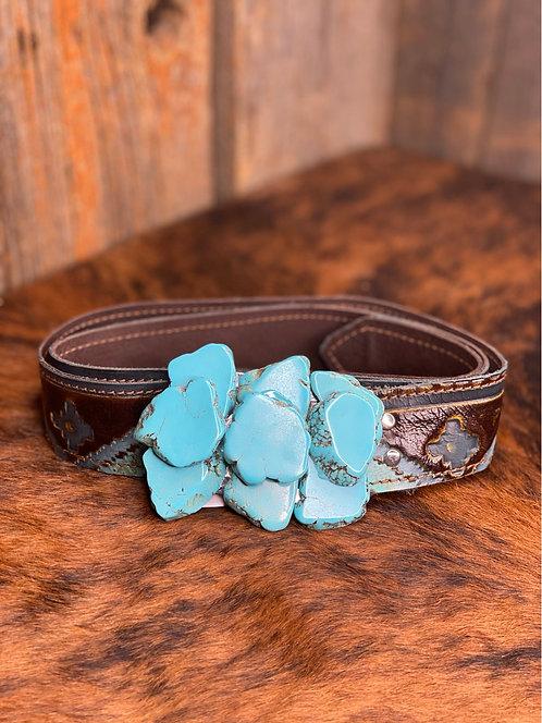 Turquoise Aztec Slab Belt 991i