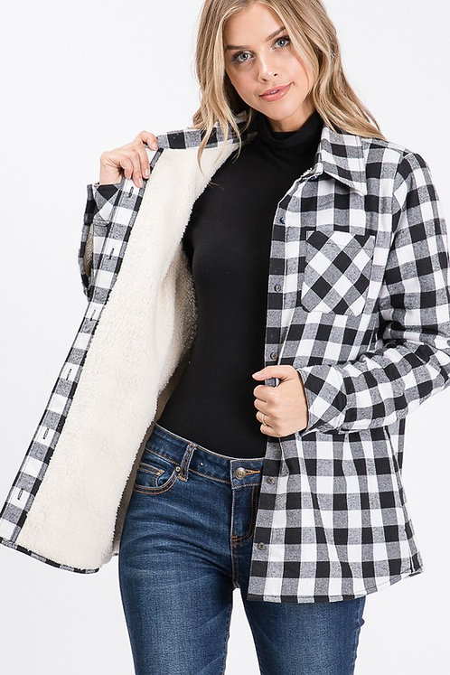 SHERPA FUR LINED PLAID BUTTON DOWN JACKET
