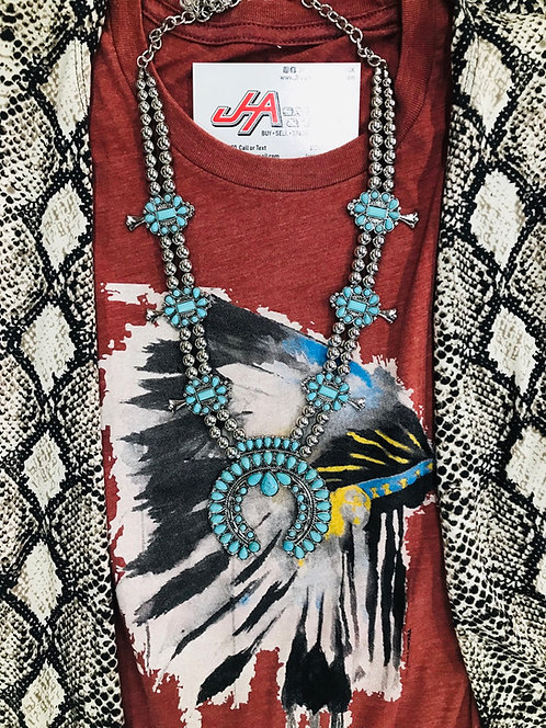 Turquoise Cactus Blossom Necklace with matching earrings