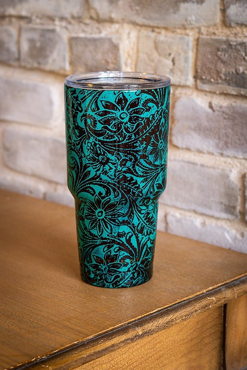 TurquoiseTooled leather Print - Tumbler