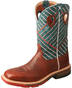 Twisted X Men's Work Boots 12 Alloy Toe Cognac Green MXBA004