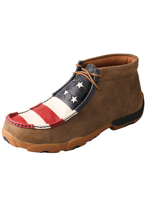 Men's Driving Moccasin – Bomber/Red, White, & Blue MDM0027