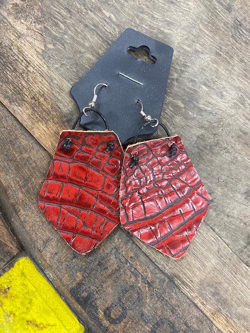 Red Snakprint Earrings