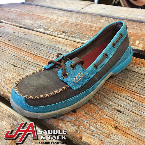 Women's Driving Moccasin – Brown/Turquoise WDM0021