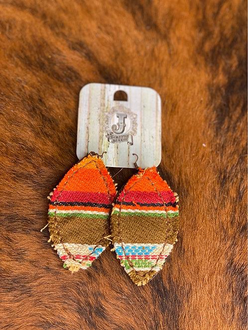 Frayed Oval Serape Earring 201z