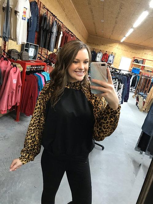 Black and Leopard Hoodie
