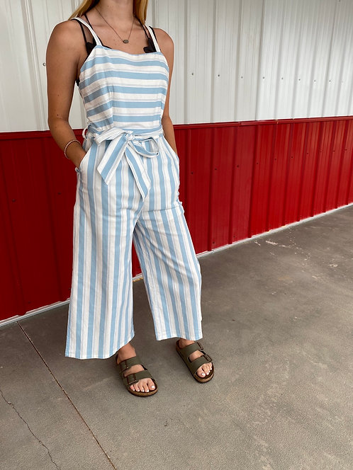 Light Blue and white Stripe Romper with Front Pockets
