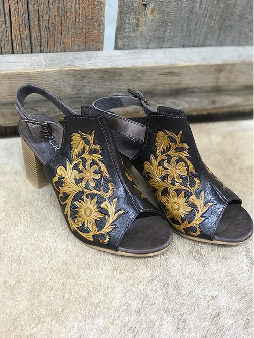 Roper Dark Leather Tooled Heels