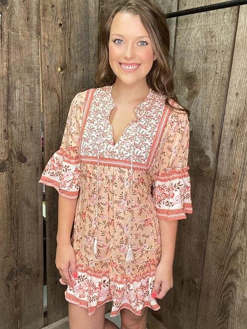 Pink off shoulder floral dress