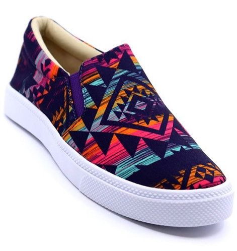 Purple Aztec Print Slip On Sneakers