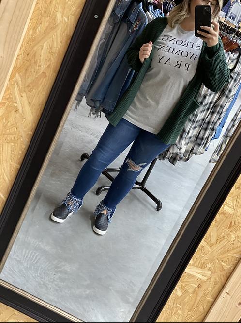 Hunter Green Cardigan with pockets