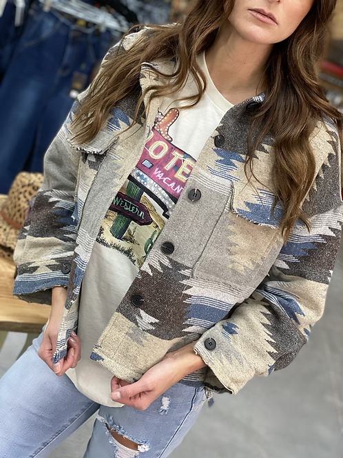 Button Down Serape Aztec Jean Jacket