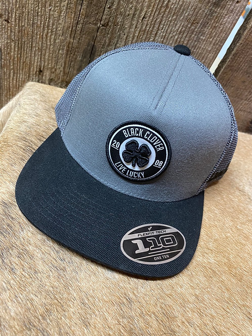 Gray Black Clover Snap Back