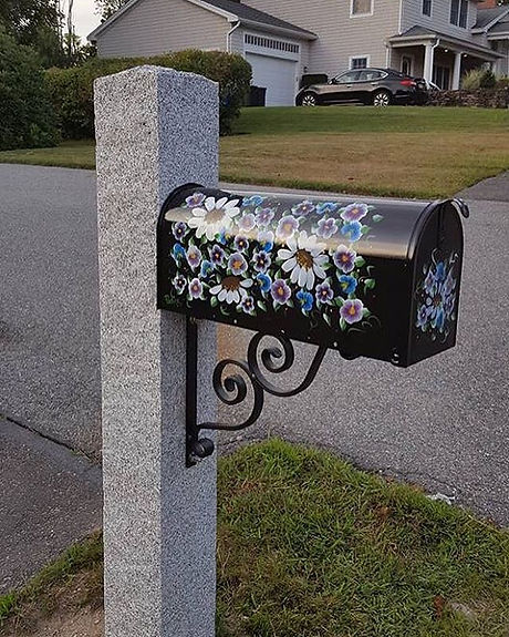 Another customer photo of their Pauline's #paintedmailbox on a locally made #granitepost #madeinnewe