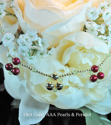 Gold & Pearl Cherries Necklace