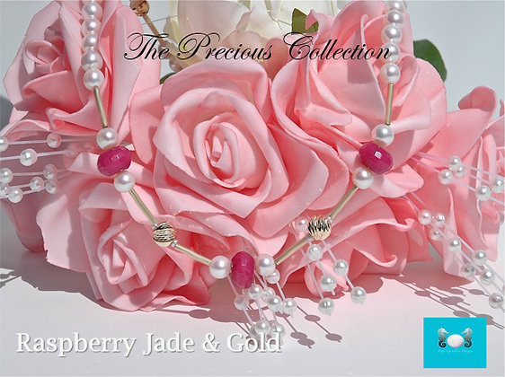 Raspberry Jade, Gold & Pearl Necklace