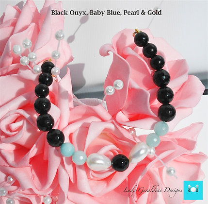 Onyx, Baby Blue, Pearl & Gold Bracelet