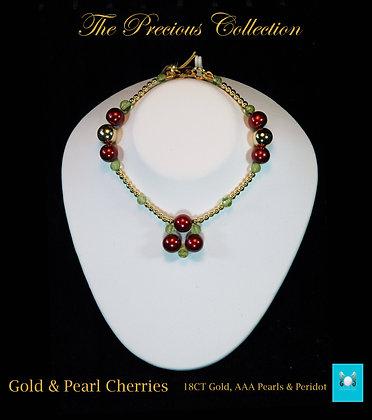 Gold & Pearl Cherries Bracelet