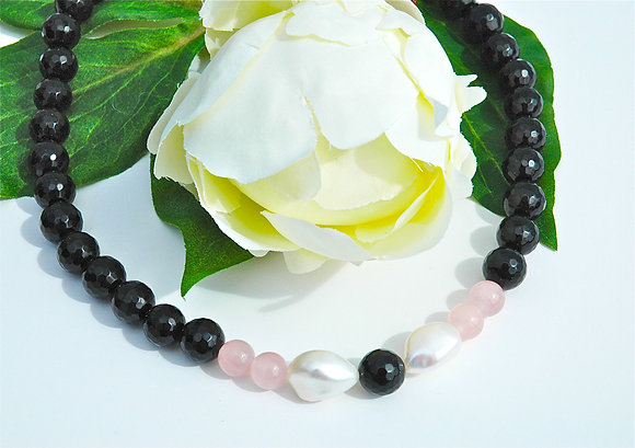 Onyx, Powder Pink, Pearl & Gold Necklace