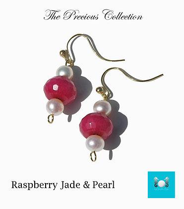 Raspberry Jade, Gold & Pearl Earrings