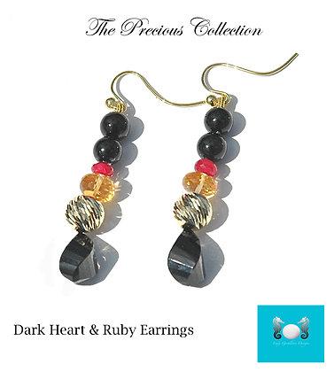 Dark Heart & Rubies Earrings