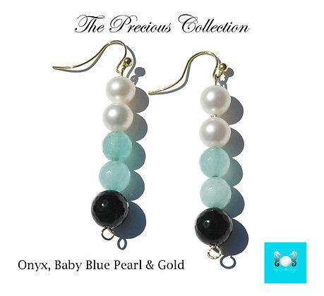 Onyx, Baby Blue, Pearl & Gold Earrings
