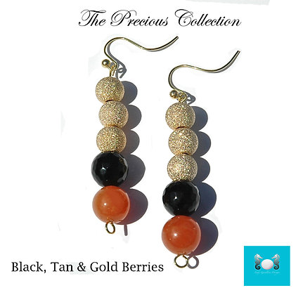 Black & Tan Berries Earrings