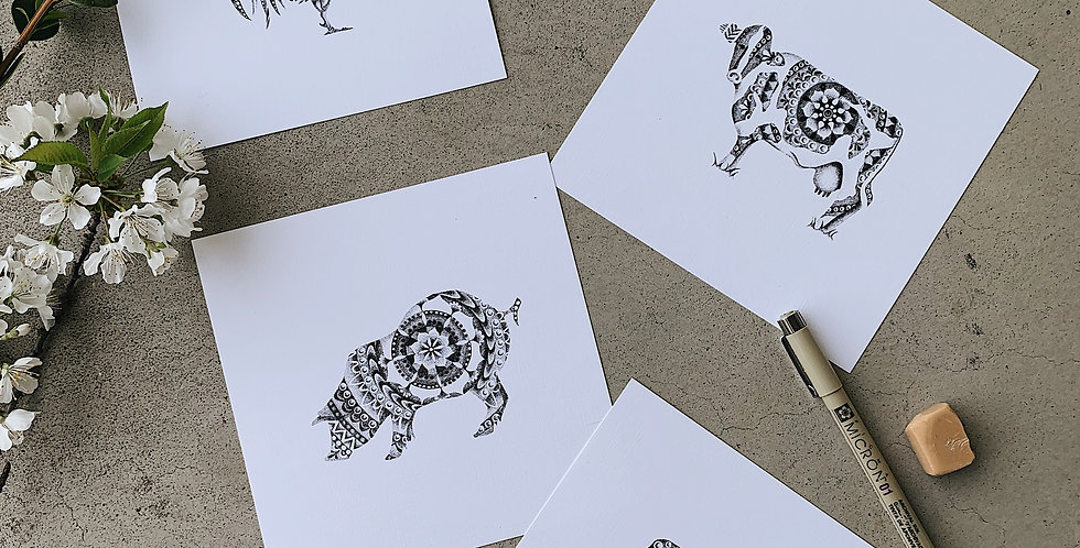 Pack of four Stipple Print Minis (21 designs to chose from)