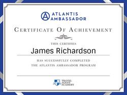 Atlantis Ambassader Certificate