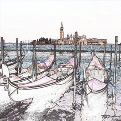 Marble Photo Coaster with Stylized image of a Gondolas in Venice, Italy