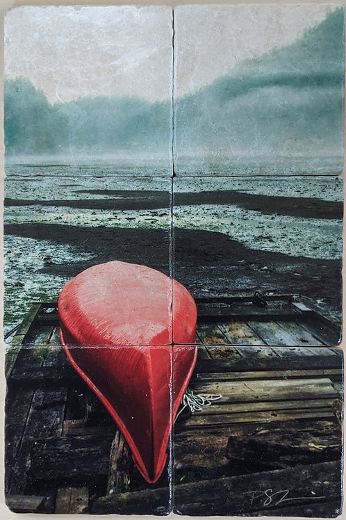 Set of 6 - Marble Coaster Mural - Red Canoe
