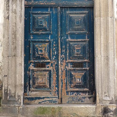 Wood Art Panel - Porto Blue Door