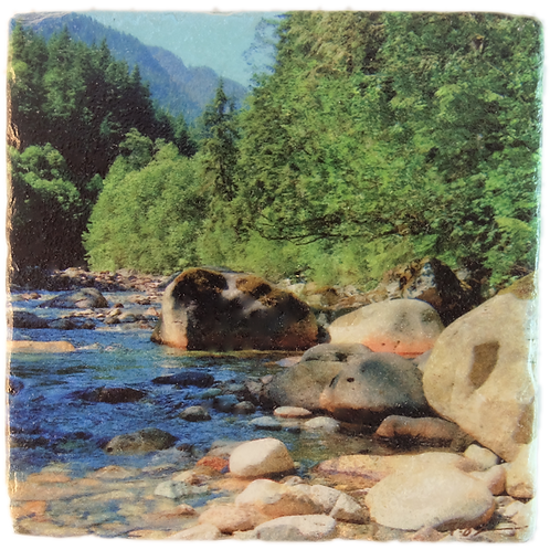 Marble Art Photo Coaster  - Lynne Valley Mountain Stream - Photo Images printed on Marble and Wood