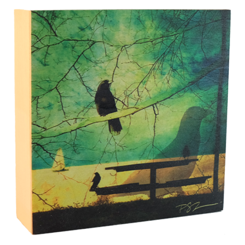 Wood Photo Art Block - Creative Crow - Photo Image printing on Marble and Wood