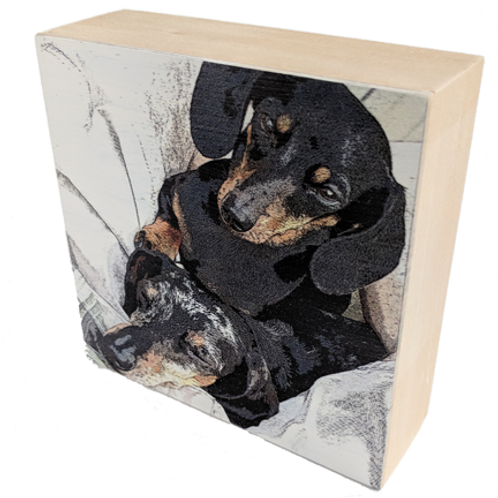 Textured Wood Art Photo Block with Dachshund Images