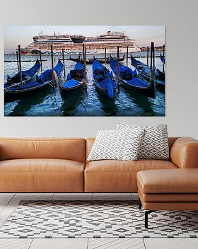Feature printed canvas highlighting images from around the world.