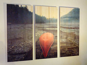 This image of a Red Canoe found on the Sunshine Coast, British Columbia, is represented here in this Pine Art Panel Triptych.