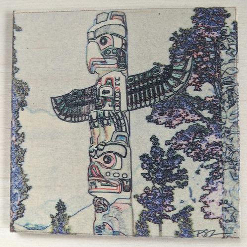 Totem-Impressions-Wooden Art Coaster