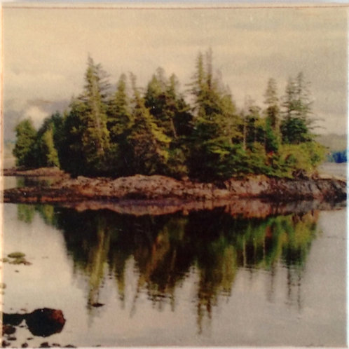 Wooden Photo Art Coasters - Island Reflections - Scenic Landscape - Photo Images printed on Marble and Wood
