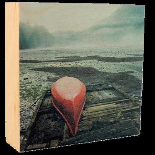 Wood Art Photo Block - Red Canoe