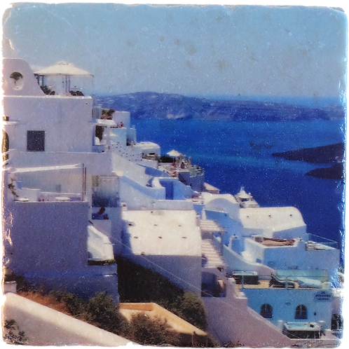 Marble Photo Art Coaster  - Santorini, Greece - Photo Images printed on Marble and Wood