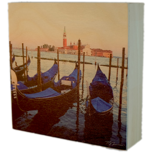 Wood Art Photo Block - Gondolas - Venice