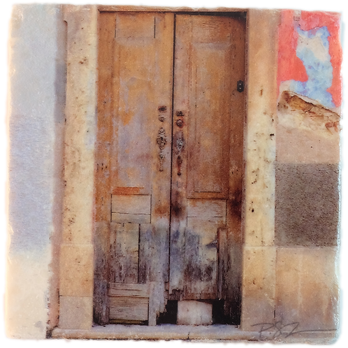 Marble Art Photo Coaster - Vintage Rustic Door - Portugal