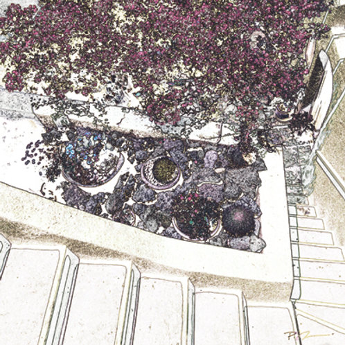 Santori Garden and Stairs - Marble Photo Coaster by Murals and More Decor