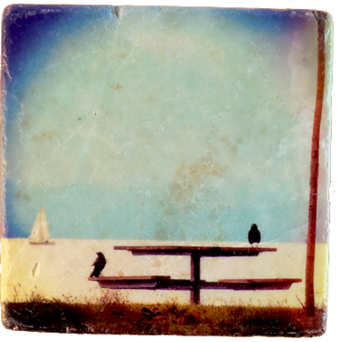 Marble Art Photo Coaster - Day at the Beach - with Photo Prints on Marble and Wood Panel